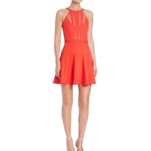 BCBG Tatyanna Mesh-Blocked Halter cocktail dress